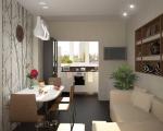 Дизайн кухни совмещенной с балконом-1