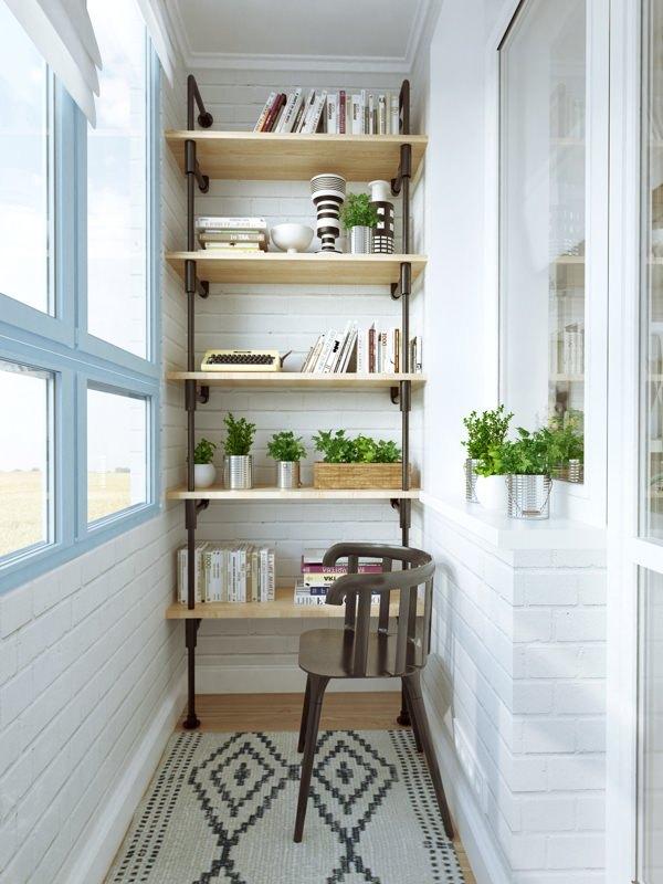 Стеллажи на балконе дизайн фото