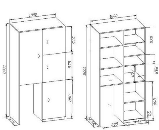 чертеж балконного шкафа