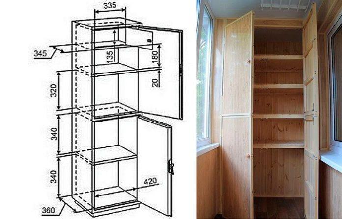 Чертеж шкаф на балконе своими руками 10