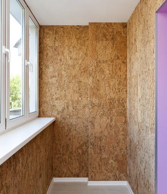 пробковые панели для стен на балконе