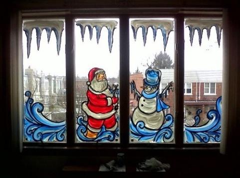 Рисунок на окно в новый год