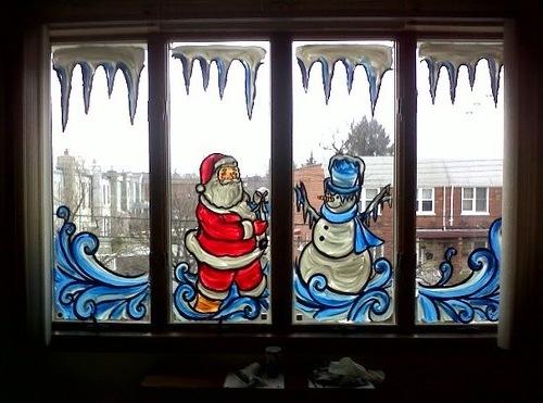 рисунки на стекле к новому году
