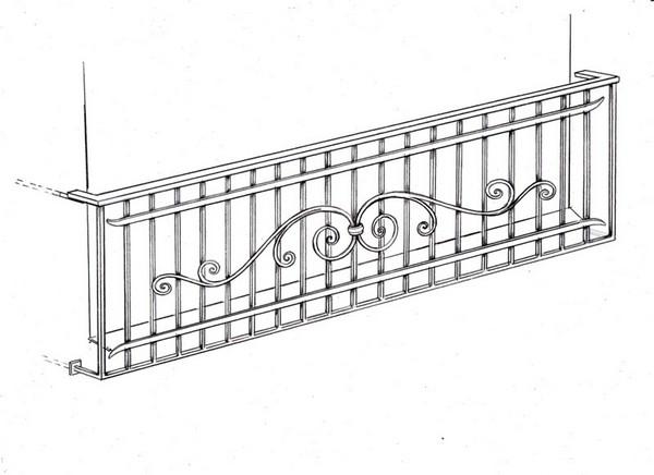 кованое ограждение балкона эскиз