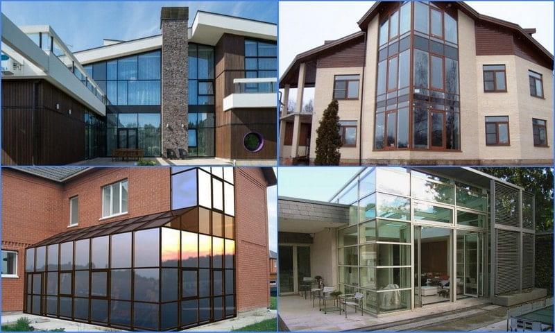 стеклянные фасады частных домов