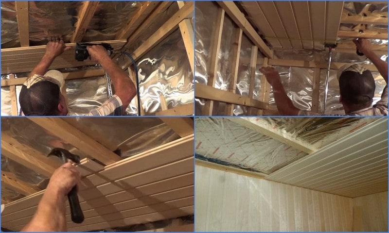 отделка потолка балконной бани