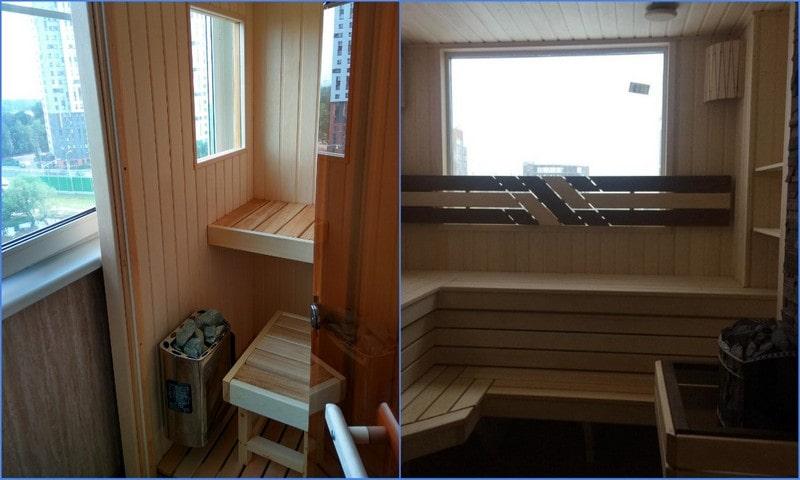 парная на балконе с окном